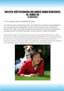 Last known Sophia Yin interview